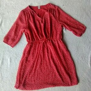 👗NWT Old Navy Sheer Red Print Dress Sz L👗